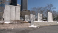 Various wide telephoto shots of the WWII Memorial in Battery Park NYC NO