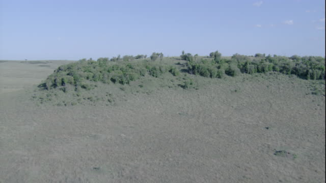 Vast grasslands give way to wooded ridges in Masai Mara, Kenya. Available in HD.