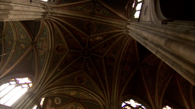 Vaulted ceilings characterize the interior of Vienna's Votive Church. Available in HD.
