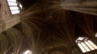Vaulted ceilings characterize the neo-Gothic interior of the Votivkirche in Vienna. Available in HD.