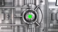 CU CGI vaulted door opening to green screen.