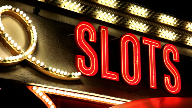 Vegas Slots Neon Sign with Blinking Lights