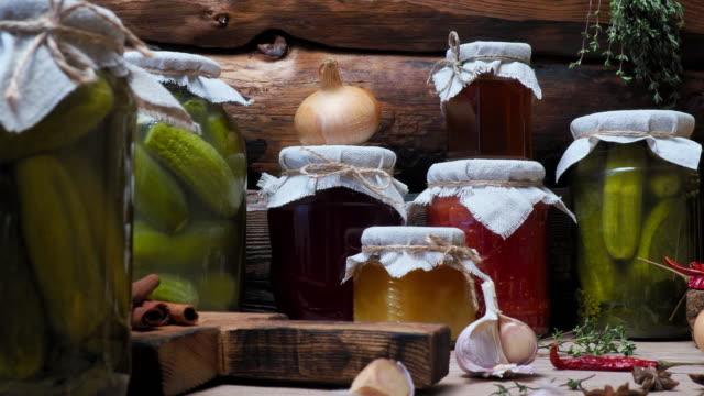 Vegetable preserves on kitchen table