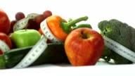 HD: Vegetables And Fruits With Measuring Tape
