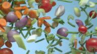 Vegetables float against a blue background.