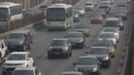 Vehicles move in congested traffic along an expressway in Beijing China on Saturday March 7 2015