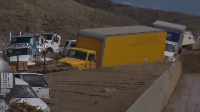 KTLA Vehicles Trapped on Highway 58 Near Mojave After Mudslides Inundated Roads