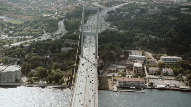 AERIAL Vehicles traveling across the Bosphorus Bridge between Europe and Asia / Istanbul, Turkey