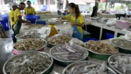 A vendor at a fish stall in a covered market