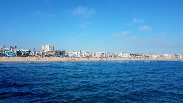 Venice Beach-Blick auf Meer, Strand und Häuser, Südkalifornien.