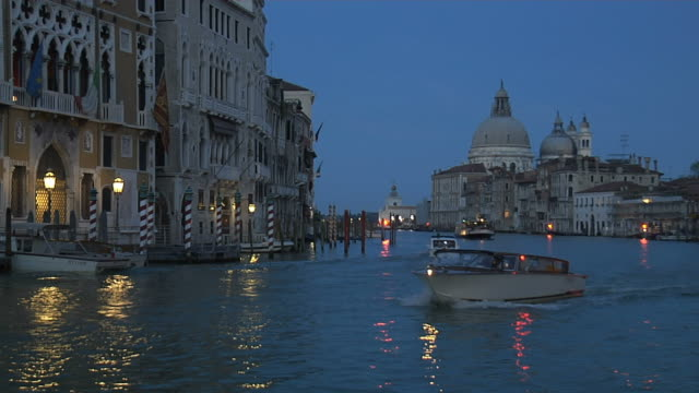 venice, grand canal in the evenening