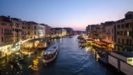 Venice, Italy Time lapse Grand Canal , sunset to night from rialto bridge