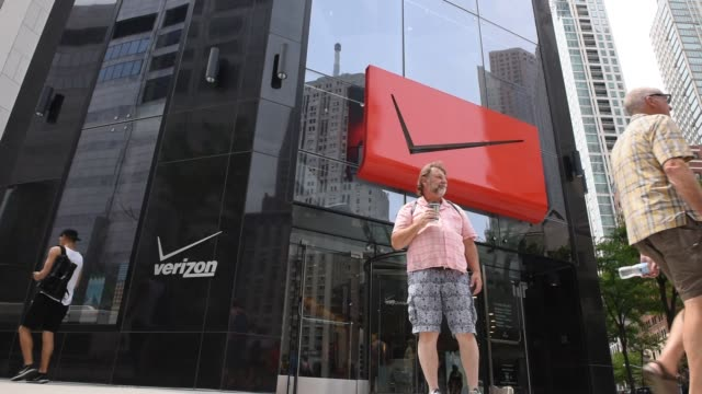 A Verizon store located on Michigan Ave in downtown Chicago IL On July 23 2016 Shots low angle shot of exterior with Verizon signage CU shift focus...