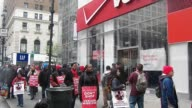 about 50 workers picketline outside the Verizon Store on 34th Street in New York City 39000 Striking Verizon workers take to picket lines across the...
