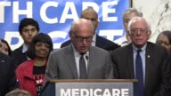 Vermont Senator Bernie Sanders introduces MCS Industries CEO and cofounder Richard Master at a news conference about his findings as a businessman...