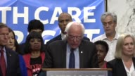 Vermont Senator Bernie Sanders tells media and supporters of universal health care coverage that insurance companies make hundreds of billions of...