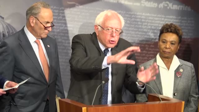 Vermont Senator Bernie Sanders tells reporters at a briefing with congressional Democrats that his major fear is that while people are worried after...