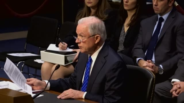 Vermont Senator Pat Leahy questions former colleague Attorney General Jeff Sessions at an oversight hearing by the Senate Judiciary Committee about...