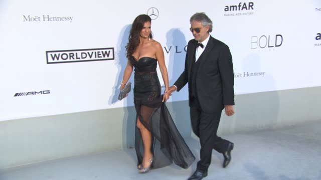 Veronica Berti Andrea Bocelli at AmfAR Red Carpet at Hotel du CapEdenRoc on May 22 2014 in Cap d'Antibes France