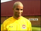 Veron/James/Southgate transfers ITN Essex Chadwell Heath EXT New West Ham United signing from Aston Villa goalkeeper David James James posing for...