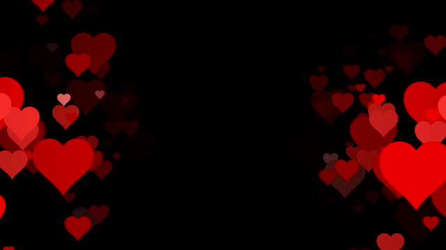 Vertical Rows of scrolling Hearts over Black Background (Loopable)