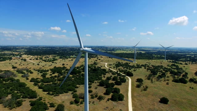 Very Close Still aerial drone shot of Wind Turbines Farm outside of Goldthwaite , Texas