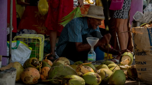 A very old active senior market vendor sells coconut water on the market of St. Anne, Martinique, West Indies.