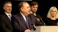SNP veteran Alex Salmond gives a speech after being defeated by Conservative Colin Clark saying serving Gordon had been the 'privilege of my life'