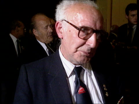 Veterans mark 50th anniversary of arctic convoys ITN ENGLAND London Kensington Soviet Embassy INT Richard Squires intvwd SOF how his clothes froze...