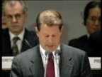 US Vice President Al Gore voices US stance on Kyoto Protocol at United Nations Convention on Climate Change Kyoto Japan 08 Dec 97