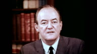 / Vice President Hubert Humphrey thanks Mr Marshall for his story about an elderly man and his Medicare story / Vice President talks into camera...