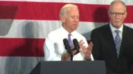 WGN Vice President Joe Biden headlined a rally at the Sullivan Community Center in Vernon Hills Illinois on Oct 22 2014 to urge independents and...