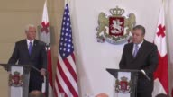 S Vice President Mike Pence and Georgian Prime Minister Giorgi Kvirikashvili hold a joint press conference following their meeting in Tbilisi Georgia...