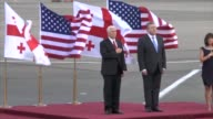 US Vice President Mike Pence arrives in the Georgian capital Tbilisi where he's due to meet the fiercely pro Western country's leadership and is...