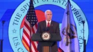 US Vice President Mike Pence gives a speech on the US economy and business to the US Chamber of Commerce Repeats key Trump lines on America open for...
