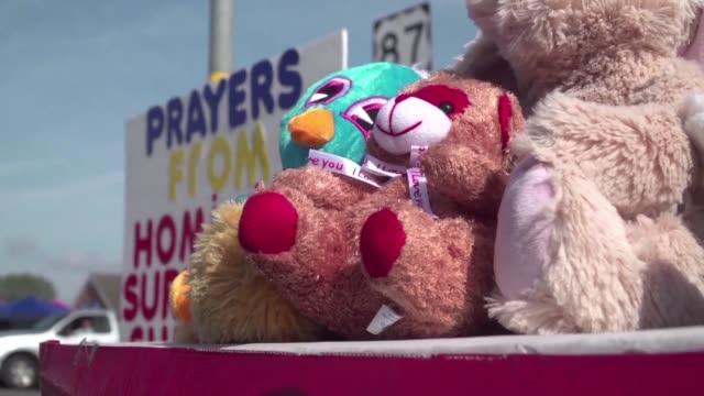 A victims support group leaves stuffed animals near the site of the Texas church shooting to pay tribute to the many children who were among the 26...