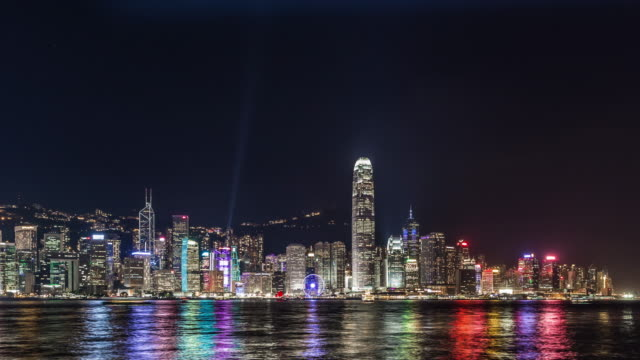 T/L WS PAN Victoria Harbour at Night / Hong Kong, China