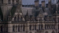 Victorian spires top the Manchester Town Hall in England. Available in HD.
