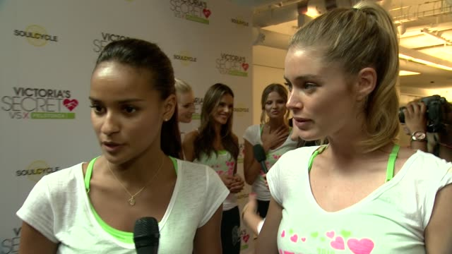 INTERVIEW Victoria's Secret models Gracie Carvalho and Elsa Hosk on how music helps them exercise at Victoria's Secret 3rd Annual Supermodel Cycle at...
