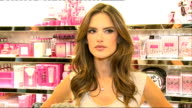 Victoria's Secret Show Preview interviews and shop general views ENGLAND London INT Alessandra Ambrosio interview SOT General views underwear and...