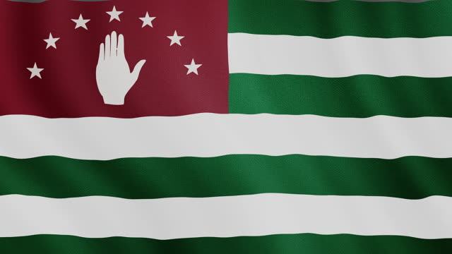 4-K Video : Abkhazia waving flag