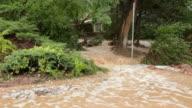 HD video Boulder flood waters cascades through homes