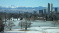 HD video Denver's snowy City Park and sky line