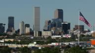 HD video downtown Denver Colorado skyscrapers and U.S. flag