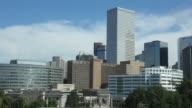HD video Downtown Denver skyline over Civic Center Park