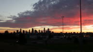 HD video Fiery Downtown Denver Colorado sunrise