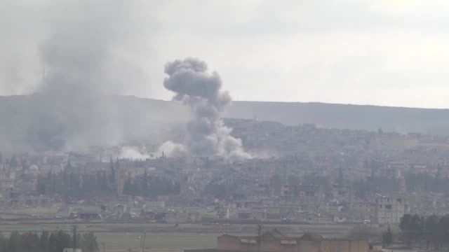 A video footage from Suruc district of Sanliurfa Turkey near TurkishSyrian border crossing shows smoke rising from the Syrian border town of Kobani...