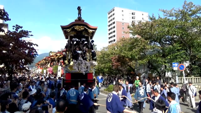 "Video footage taken at the Otsu Matsuri festival held on Oct 8 in Otsu Shiga Prefecture shows 13 towering ornately decorated ""hikiyama"" floats being..."