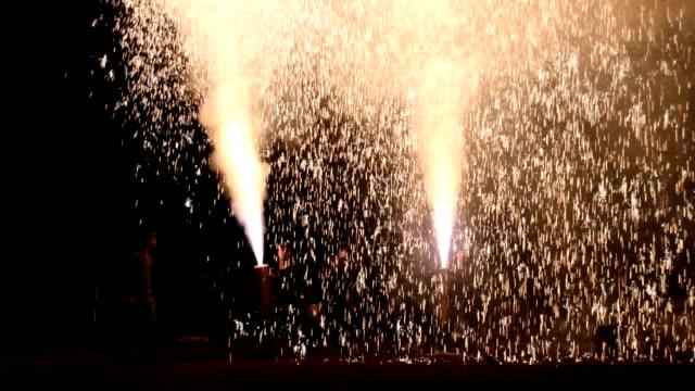 "Video footage taken at Yoshidajinja shrine in Toyohashi Aichi Prefecture shows men dressed in ""happi"" coats holding and launching gushing fireworks..."