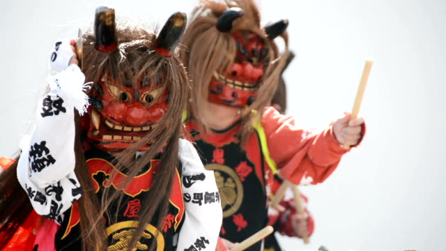 Video footage taken in Kurashiki Okayama Prefecture shows drummers and other performers dressed in frightening masks and costumes during the...